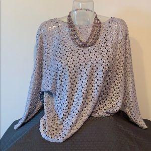 Alfani decorative mesh tunic: silver